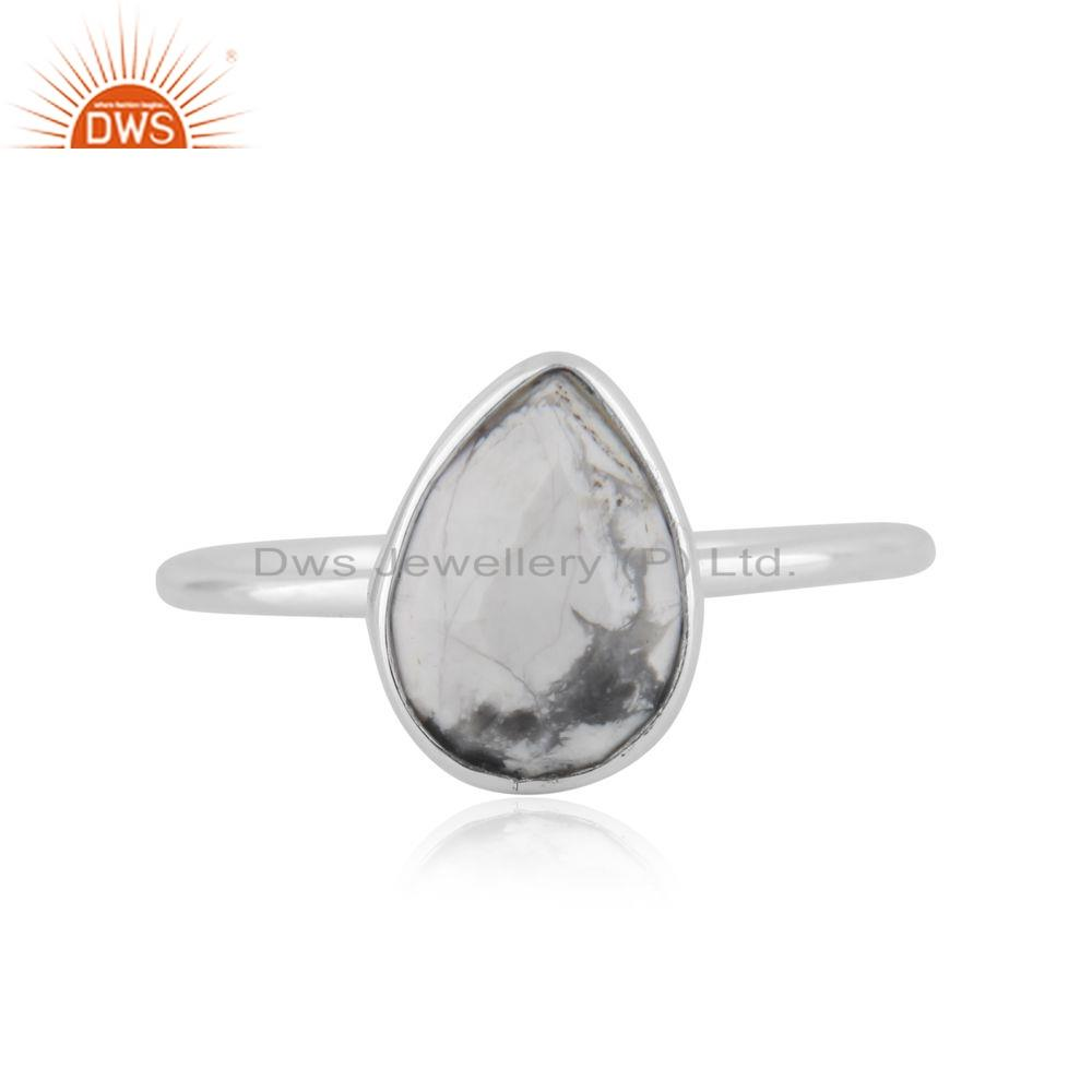 Howlite Gemstone 925 Silver Silver Adjustable Ring Jewelry Supplier