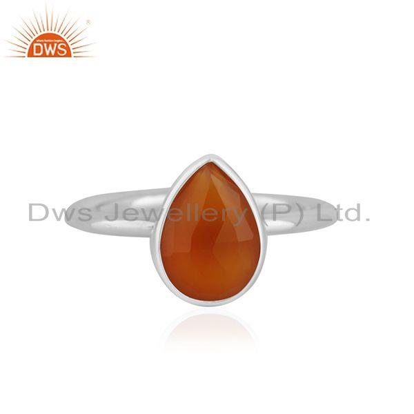 Red Onyx Gemstone Fine Sterling Silver Handmade Ring Jewelry Manufacturer India