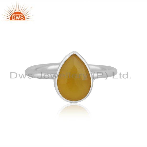 Yellow Chalcedony Gemstone Fine Sterling Silver Ring Manufacturer Jaipur