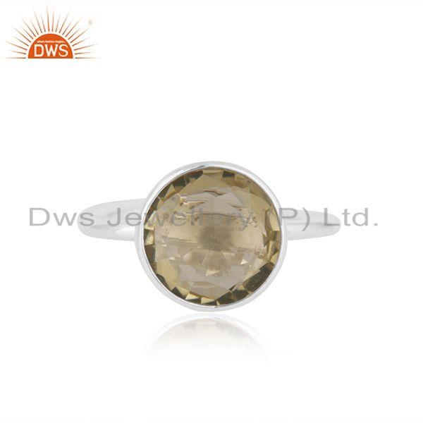 Lemon Topaz Gemstone Handmade 92.5 Sterling Silver Ring Manufacturer in Jaipur
