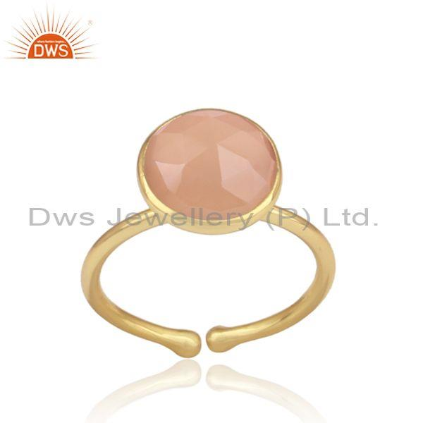 Rose chalcedony set gold on sterling silver handmade ring