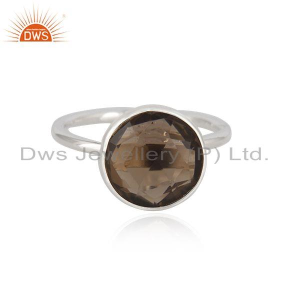 92.5 Sterling Silver Smoky Quartz Gemstone Simple Ring Wholesale Supplier