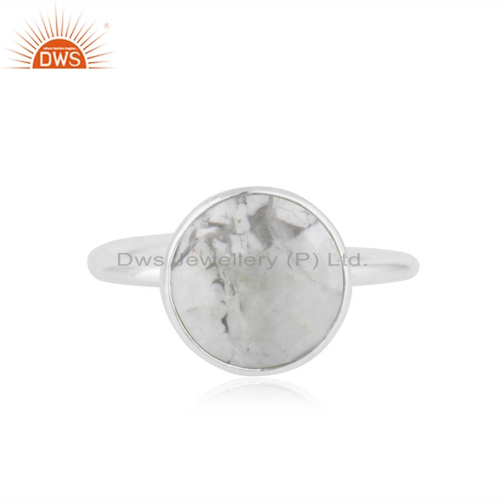 Round Howlite Gemstone 925 Silver Adjustable Designer Ring Jewelry