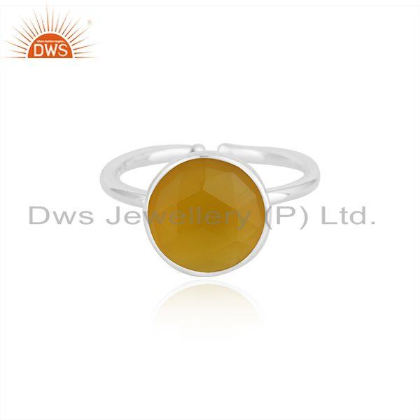 Yellow Chalcedony Gemstone 925 Fine Silver Simple Design Ring Manufacturer