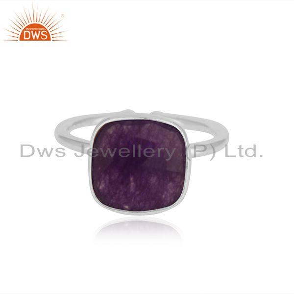 Amethyst Aventurine Gemstone Fine Sterling Silver Ring Manufacturer India
