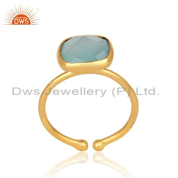 Classic aqua chalcedony set gold on 925 sterling silver ring