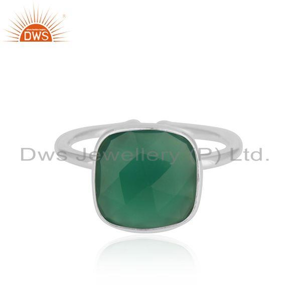 Green Onyx Gemstone 925 Sterling Fine Silver Handmade Ring Manufacturer India