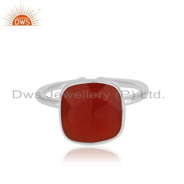 Red Onyx Gemstone Simple Design Fine Sterling Silver Ring Jewelry Supplier