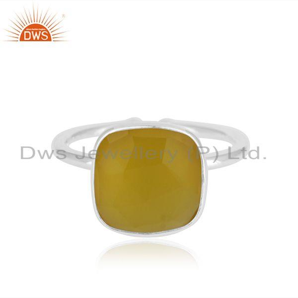 Yellow Chalcedony Simple Design 925 Fine Silver Unisex Ring Manufacturer Jaipur