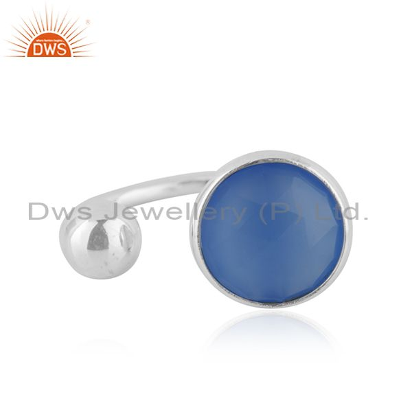 Sterling Fine Silver Blue Chalcedony Gemstone Designer Rings Jewelry
