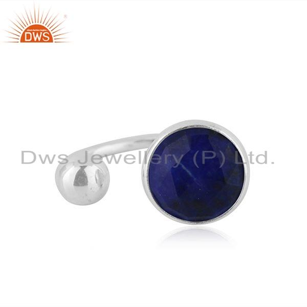 Natural Lapis Gemstone Designer 925 Silver Womens Rings Jewelry