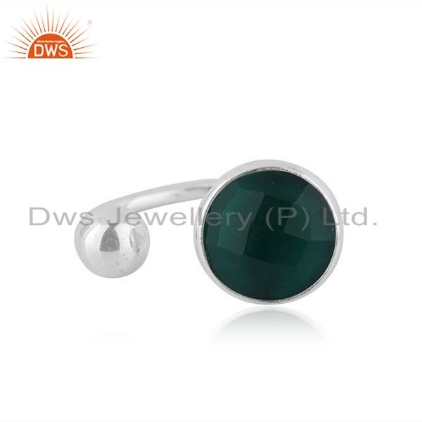 925 Sterling Silver Designer Green Onyx Gemstone Ring Supplier
