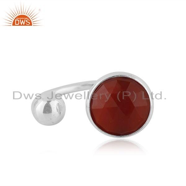 Red Onyx Gemstone Womens 925 Silver Designer Ring Manufacture