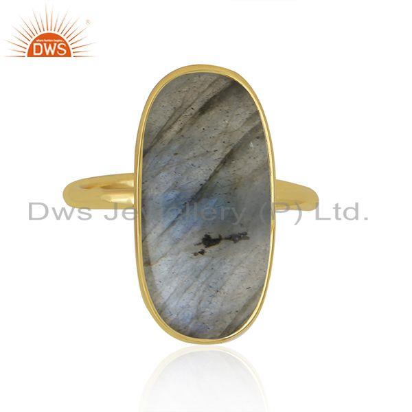 Natural Labradorite Gemstone Gold Plated 925 Sterling Silver Ring