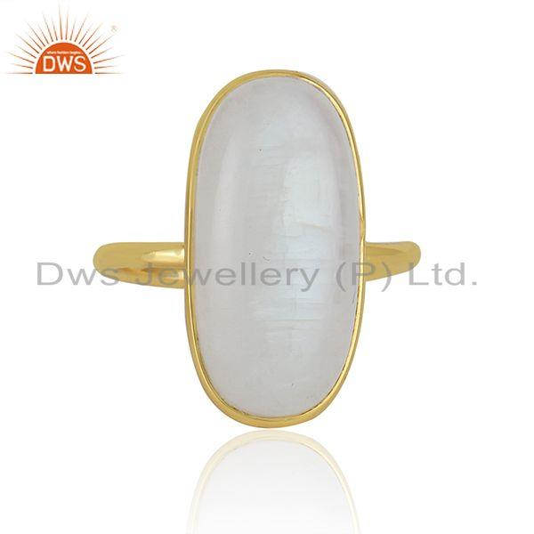 Rainbow Moonstone Gold Plated 925 Sterling Silver Handmade Rings