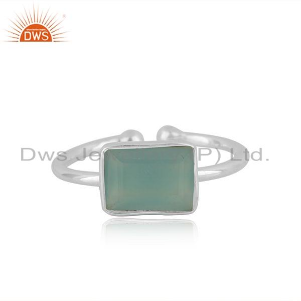 New Aqua Chalcedony Gemstone Fine Silver Adjustable Ring Jewelry