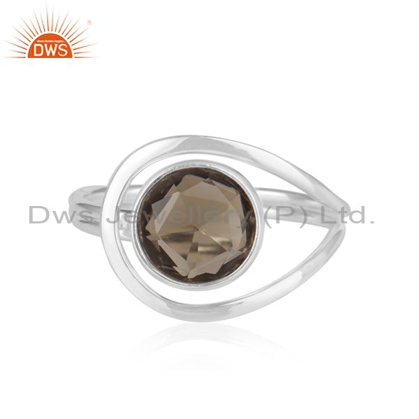 Smoky Quartz Gemstone Handmade 925 Sterling Fine Silver Ring Supplier