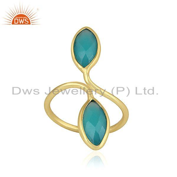 Aqua Chalcedony Gemstone Gold Plated Designer Silver Cocktail Rings
