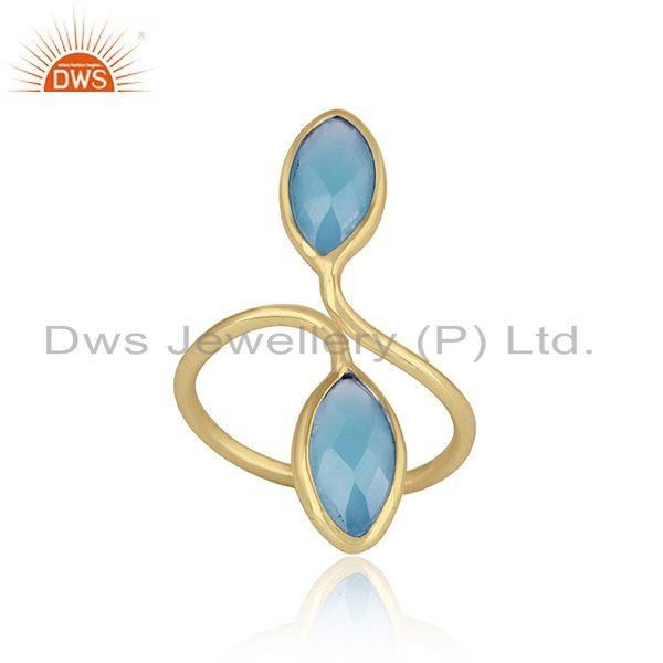 Blue chalcedony gemstone designer womens gold plated silver ring