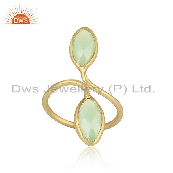 Prehnite chalcedony womens designer gold plated silver rings