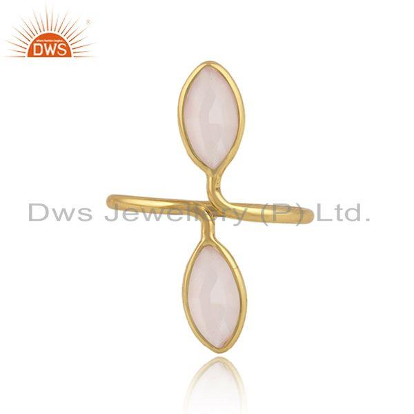 Rose chalcedony gemstone womens gold plated silver rings jewelry