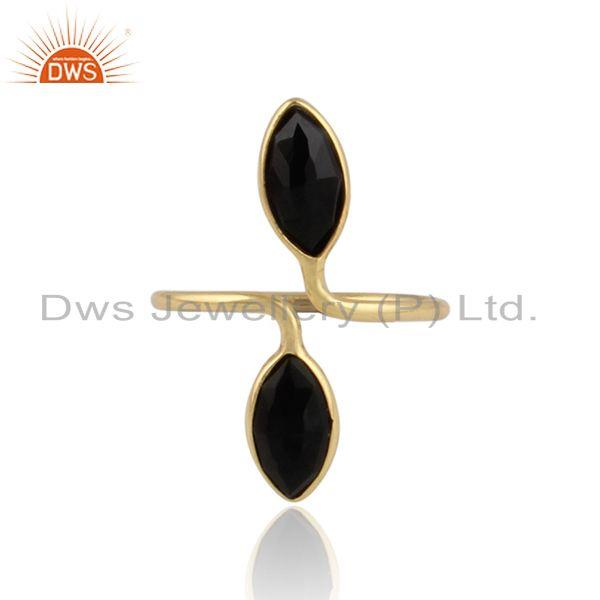 Black onyx gemstone designer 18k gold plated 925 silver rings