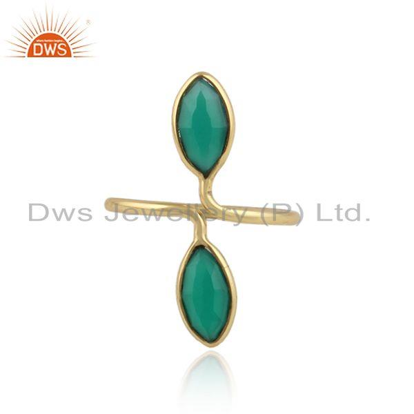 Glossy yellow gold plated 925 silver green onyx gemstone rings