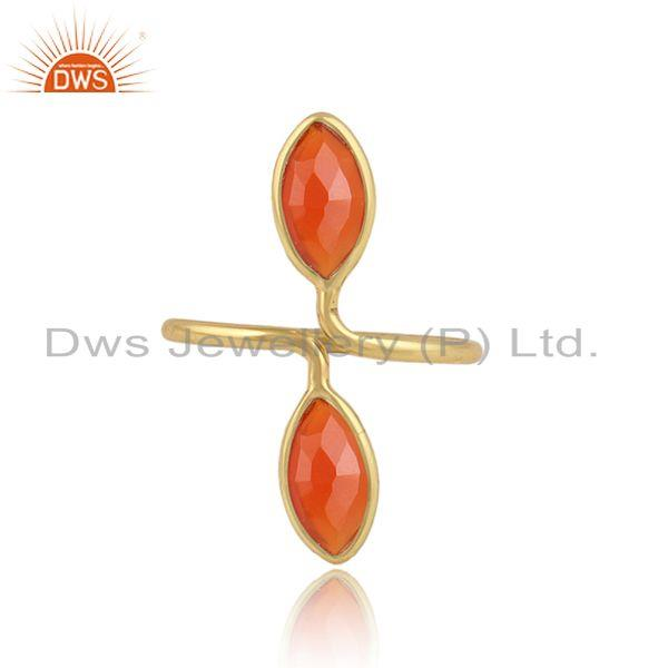 Natural Red Onyx Gemstone Designer Gold Plated Silver Rings