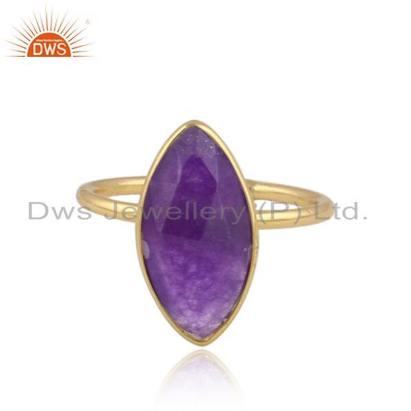 Natural aventurine gemstone designer 18k gold plated silver rings