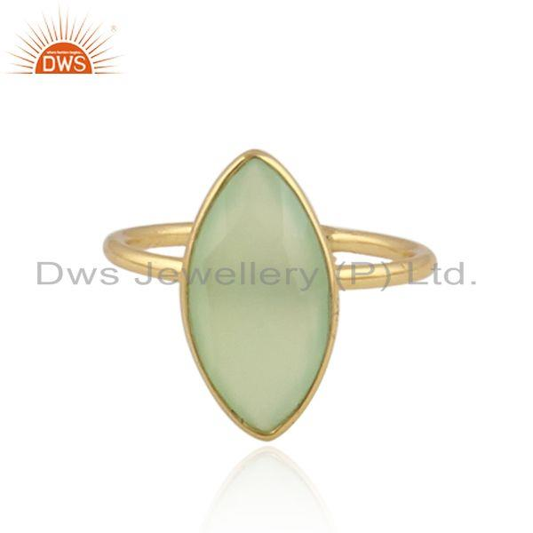Prehnite chalcedony gemstone womens gold plated silver rings