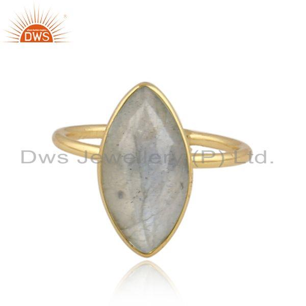 Marquise labradorite gemstone 18k gold plated 925 silver rings
