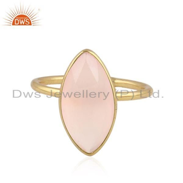 Rose Chalcedony Gemstone Designer Silver Womens Rings Jewelry
