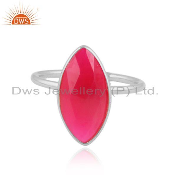 Marquise Pink Chalcedony Gemstone Sterling Fine Silver Rings