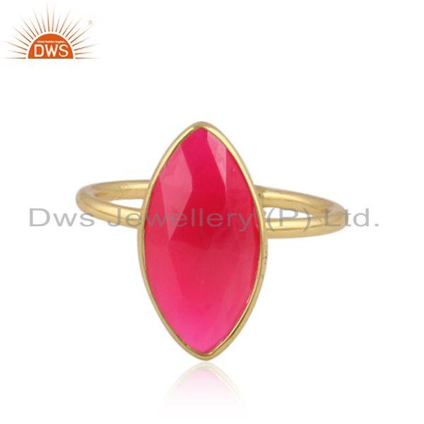 Designer Gold Plated 925 Silver Pink Chalcedony Gemstone Rings