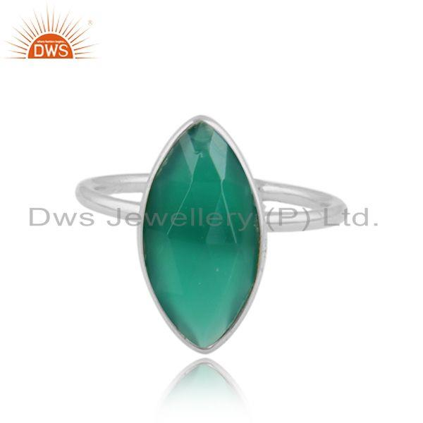 Glossy design 925 sterling fine silver green onyx gemstone rings
