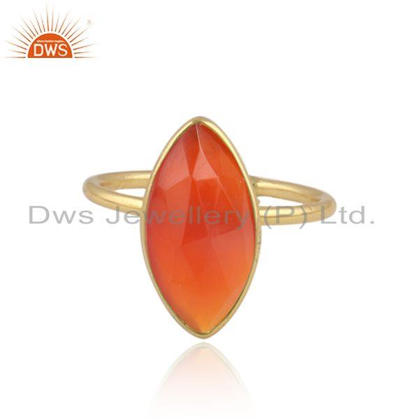 Red onyx gemstone designer 18k yellow gold plated silver rings