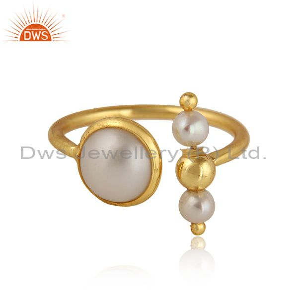 Natural Pearl Gemstone Designer Gold Plated Silver Ring Jewelry