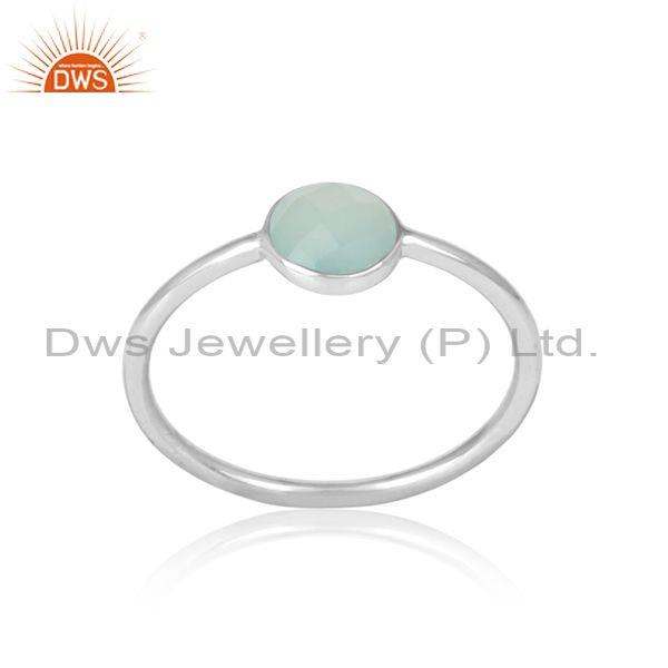 Handmade Dainty Sterling Silver Aqua Chalcedony Solitaire Ring