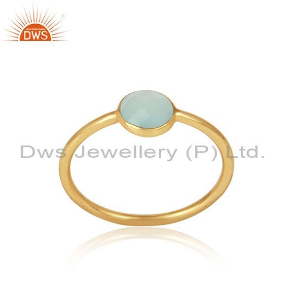 Handmade Dainty Gold on Silver Aqua Chalcedony Solitaire Ring