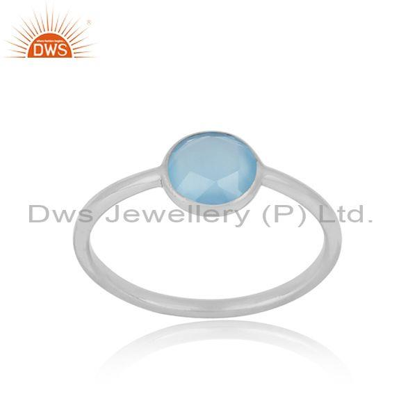 Handmade Dainty Sterling Silver Blue Chalcedony Solitaire Ring
