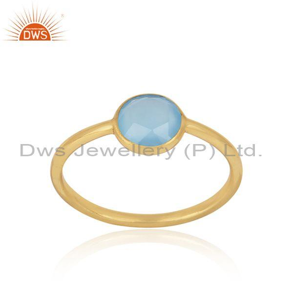 Handmade Dainty Gold on Silver Blue Chalcedony Solitaire Ring