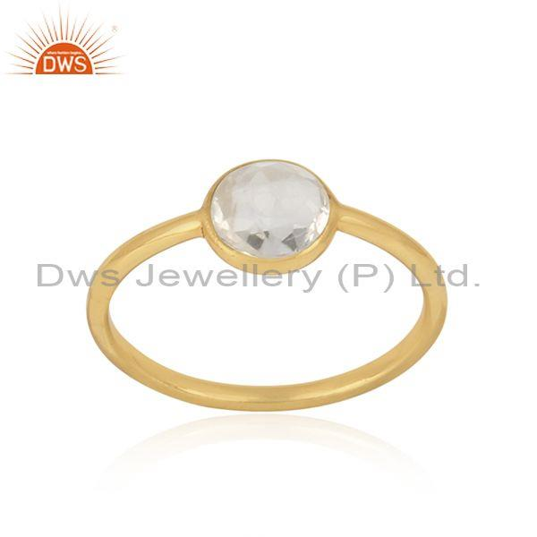 Handmade Dainty Gold on Silver Crystal Quartz Solitaire Ring