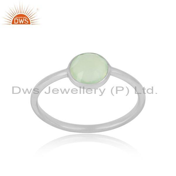 Handmade Dainty Sterling Silver Prehnite Chalcedony Solitaire Ring