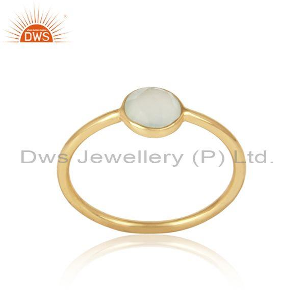 Handmade Dainty Gold on Silver Prehnite Chalcedony Solitaire Ring