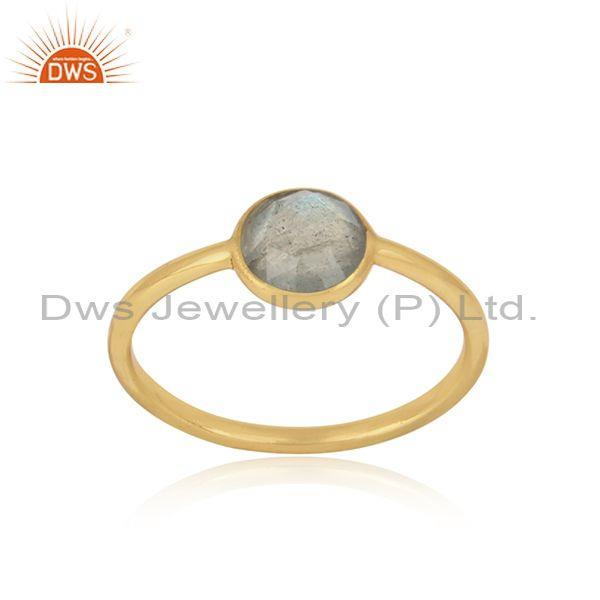 Handmade Dainty Gold on Silver Labradorite Solitaire Ring