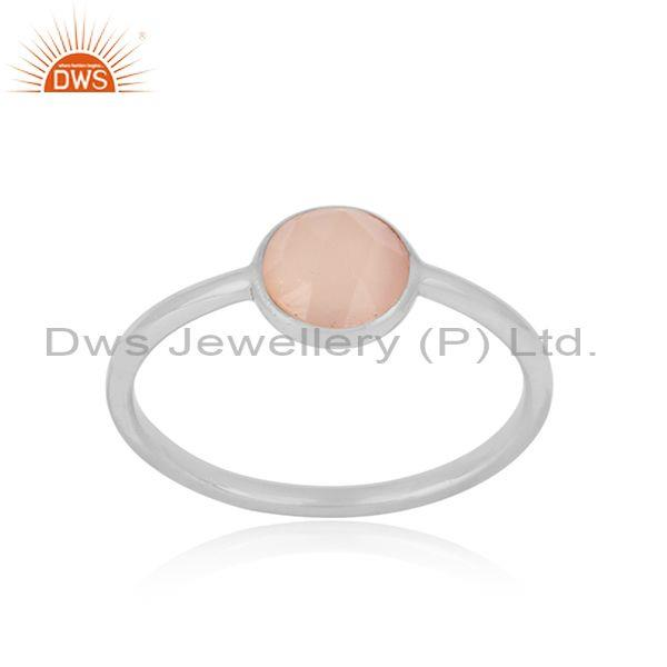Handmade Dainty Sterling Silver Rose Chalcedony Solitaire Ring