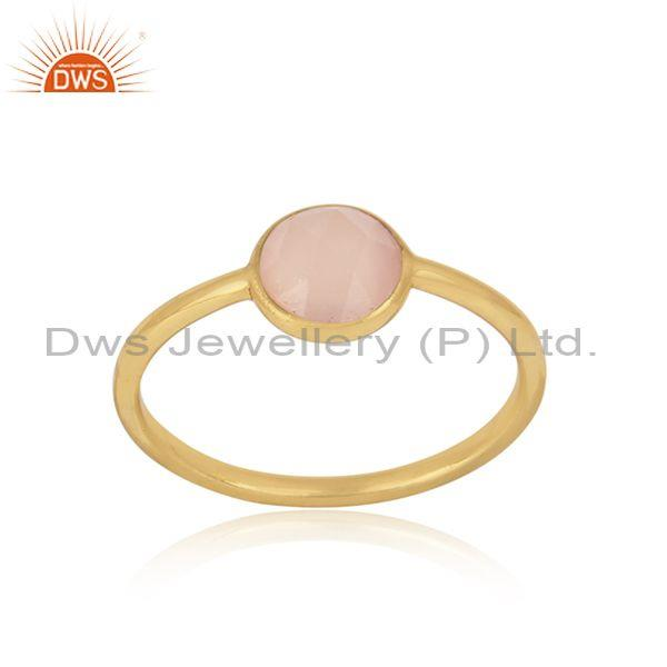 Handmade Dainty Gold on Silver Rose Chalcedony Solitaire Ring