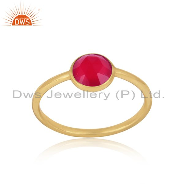 Handmade Dainty Gold on Silver Pink Chalcedony Solitaire Ring
