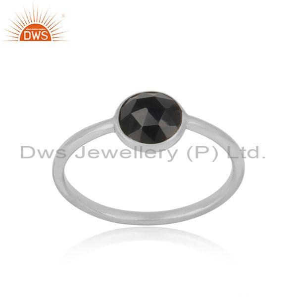 Handmade Dainty Sterling Silver Black Onyx Solitaire Ring