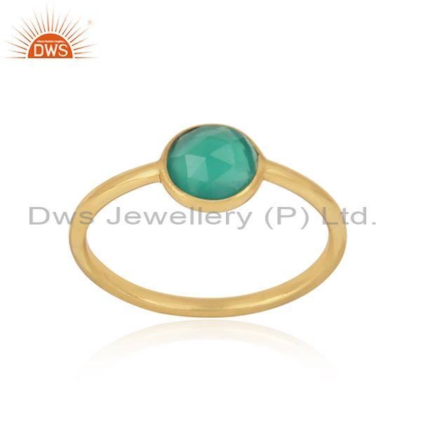 Handmade Dainty Gold on Silver Green Onyx Solitaire Ring